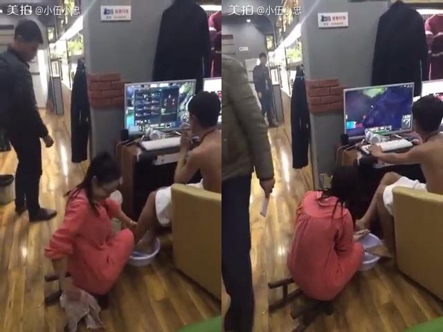 Clip: Bạn gái rửa chân cho game thủ tại quán net
