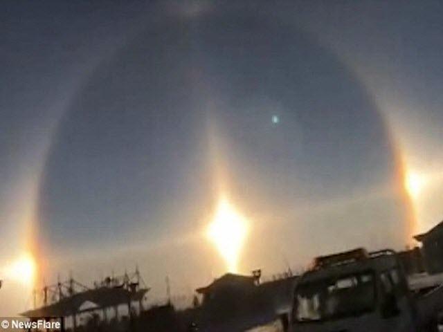 Ba mặt trời xuất hiện cùng lúc ở Trung Quốc
