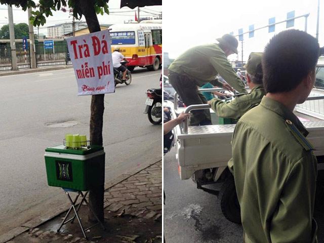 Công an phường tịch thu trà đá miễn phí cho người nghèo