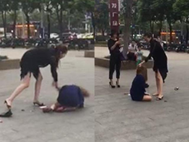 Vợ đánh tình nhân của chồng dữ dội trên phố