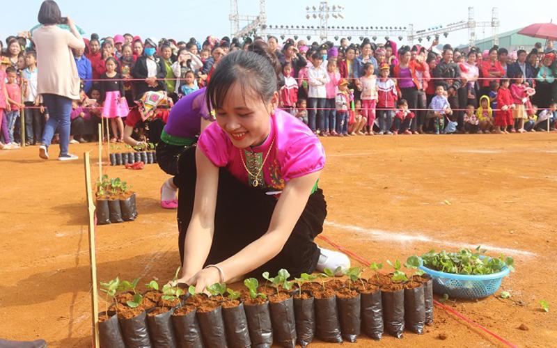 Các thí sinh trong hội thi Nhà nông đua tài đang khẩn trương hoàn thành phần thi kiến thức trồng và chăm sóc cà phê