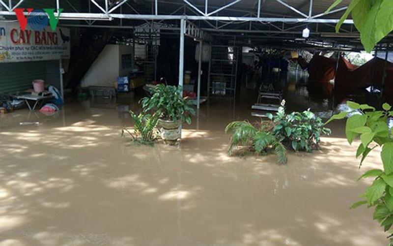 Nước lũ dâng cao khiến đời sống người dân đảo lộn.
