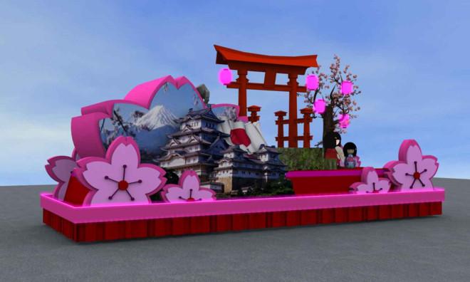 Mô hình xe hoa theo phong cách Nhật Bản.