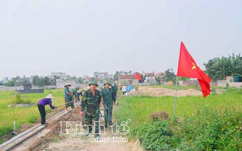 Lực lượng vũ trang huyện Kiến Xương tích cực tham gia xây dựng nông thôn mới.