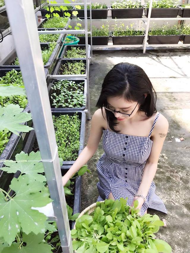 Vì muốn hai chị em Cadie Mộc Trà được ăn rau sạch, an toàn thực phẩm, Elly Trần còn tự tay trồng rau sạch tại ban công ngôi nhà của mình.