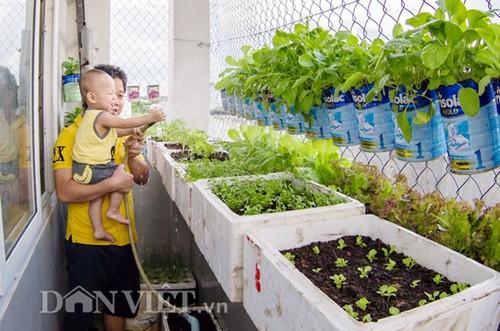 Chủ nhân của vườn rau độc đáo này là anh Nguyễn Văn Biển, sinh năm 1991 ở ngã Sáu, Châu Thành, Hậu Giang.