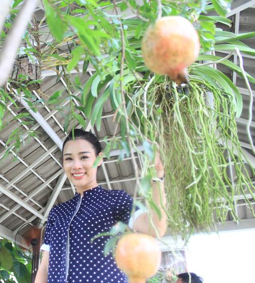 Ca sĩ Hoa Trần, vợ ca sĩ Việt Hoàn cũng thường xuyên giúp đỡ chồng làm vườn, trồng rau sạch tại nhà.