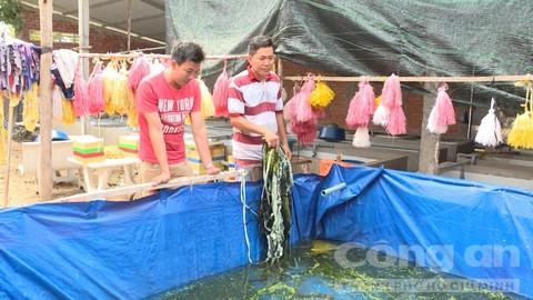 Anh Tân dùng vải bạt làm bể bán kiên cố nuôi lươn thịt để giới thiệu, hướng dẫn cách nuôi lươn cho bà con.