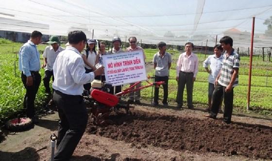 Trung tâm Khuyến nông TPHCM lượng giá mô hình cơ giới hóa máy xới đất tại xã Tân Phú Trung (Củ Chi)