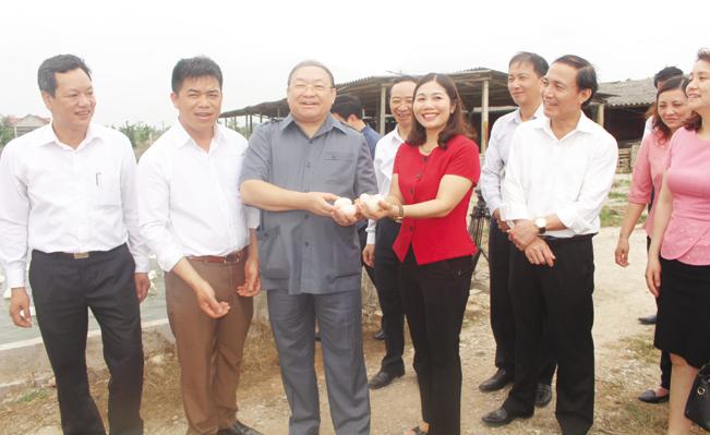 Chủ tịch BCH T.Ư Hội NDVN Thào Xuân Sùng (thứ 3 từ trái) và đoàn công tác thăm mô hình nuôi vịt khép kín của anh Ngô Đức Thắng (thứ 2 từ trái). T.H
