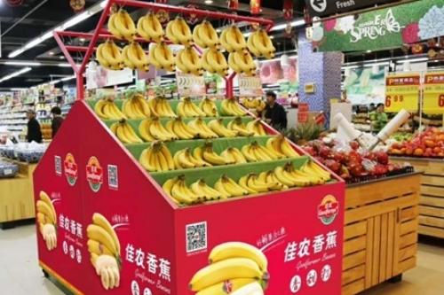 Chuối của Hoàng Anh Gia Lai lên kệ siêu thị tại Trung Quốc. Ảnh: HAGL