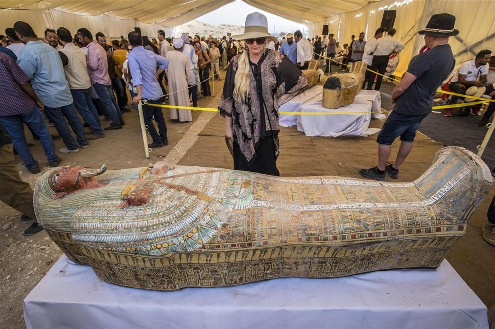 30 chiếc quan tài xác ướp mới được phát hiện ở Ai Cập. Ảnh: AFP