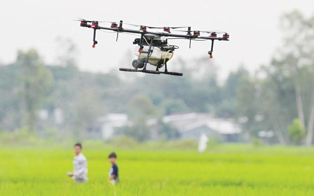 Nông dân bảo vệ lúa bằng thiết bị bay