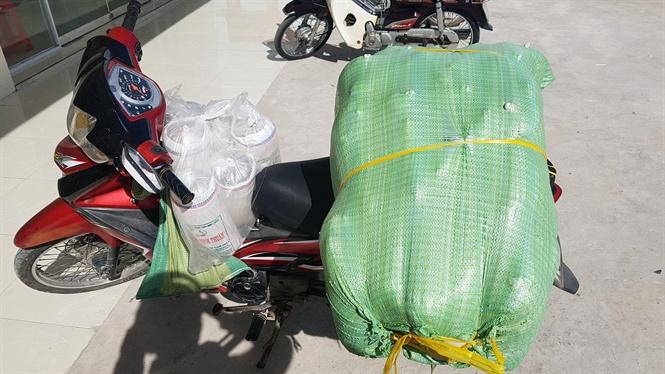 Tôm giống không đạt chất lượng được vận chuyển bằng vỏ lãi, xe gắn máy.