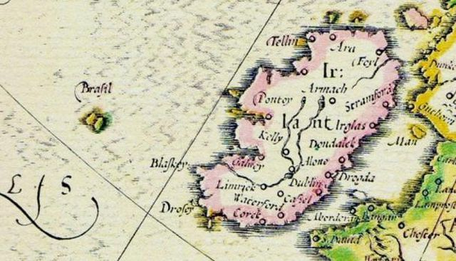Sự xuất hiện của đảo Hy-Brasil trên bản đồ cổ.