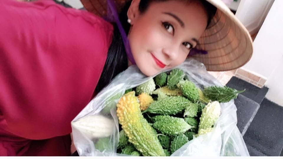 Khu vườn rộng 2.500m2 được chăm sóc tốt nên thu được rất nhiều loại rau, quả sạch cung cấp thực phẩm sạch cho những bữa ăn của chính gia đình Việt Trinh.