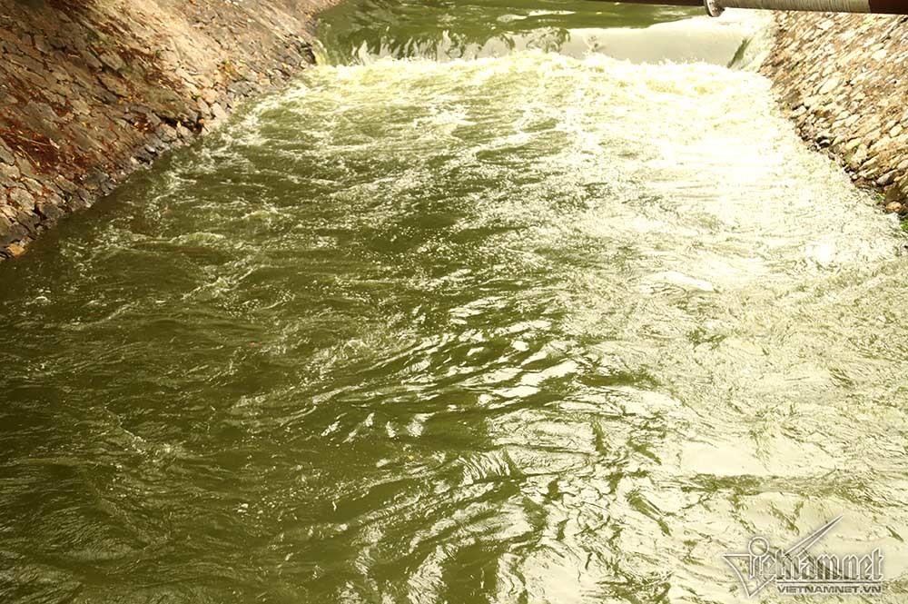 Dòng nước xanh cuồn cuộn cuốn trôi màu đen vốn có của dòng sông.
