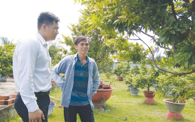 Anh Lý Văn Sánh - nông dân trẻ thoát nghèo nhờ vay vốn trồng mai, đang trao đổi với nhân viên tín dụng Ngân hàng Agribank chi nhánh Hóc Môn.