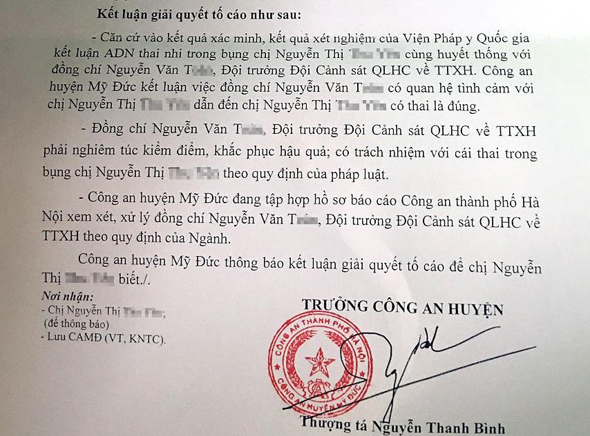 Hà Nội: Xem xét xử lý Đội trưởng Công an huyện quan hệ bất chính - Ảnh 1.