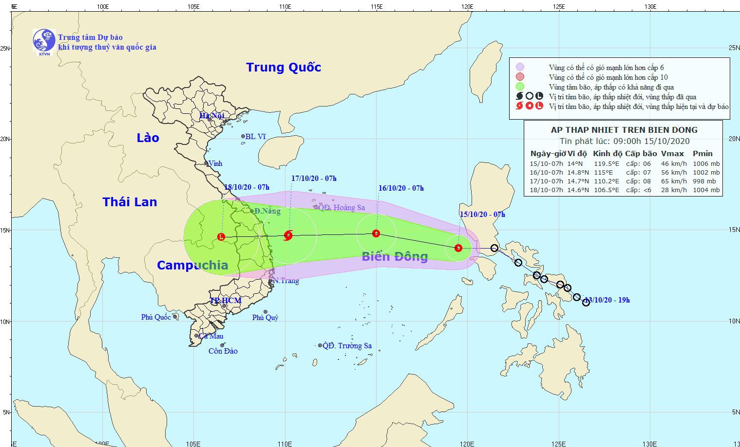 Ngày mai, 16/10, áp thấp nhiệt đới có thể mạnh lên thành bão, thẳng tiến vào Trung Bộ - Ảnh 1.