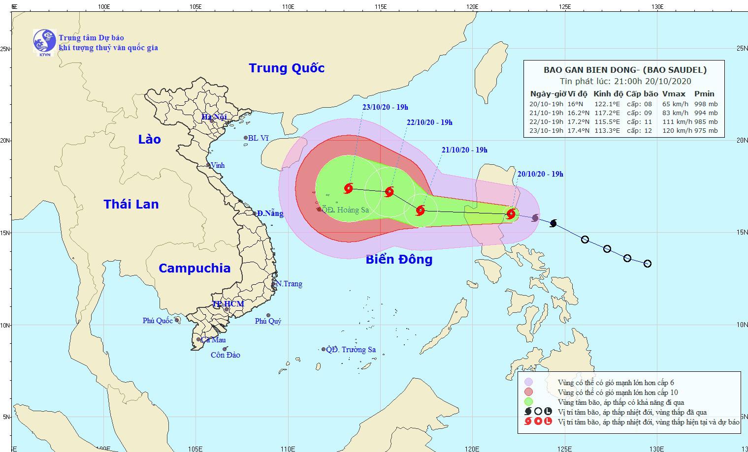 Sáng sớm mai, 21/10, bão Saudel đi vào biển Đông, giật tới cấp 14 - Ảnh 1.