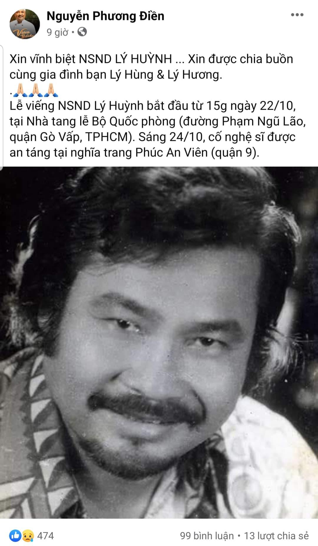 Các nghệ sỹ tiếc thương trước sự ra đi của NSND Lý Huỳnh - Ảnh 2.