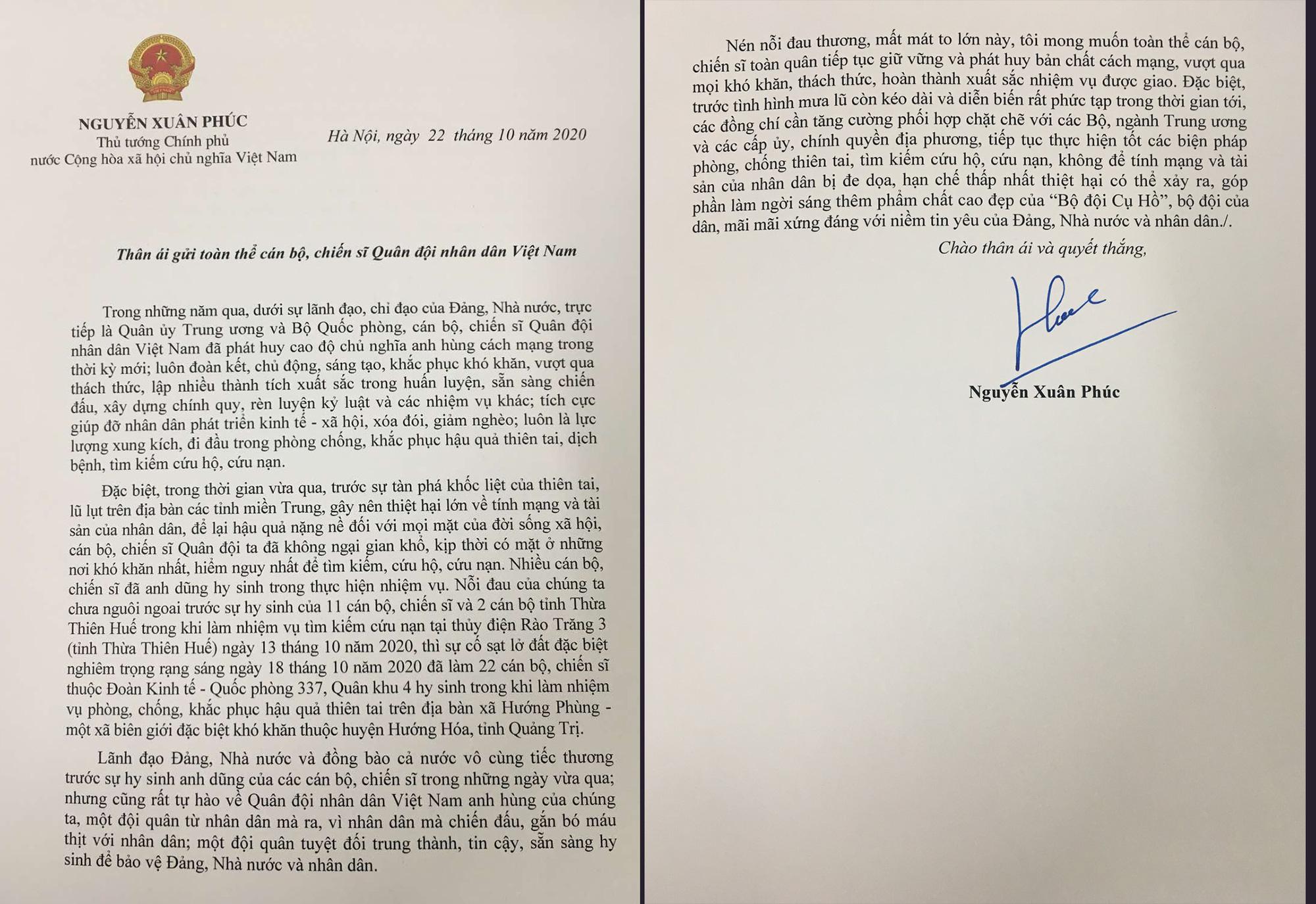 Thủ tướng gửi thư cho QĐND VIệt Nam: Hãy nén đau thương, vượt khó khăn, hoàn thành xuất sắc nhiệm vụ - Ảnh 1.