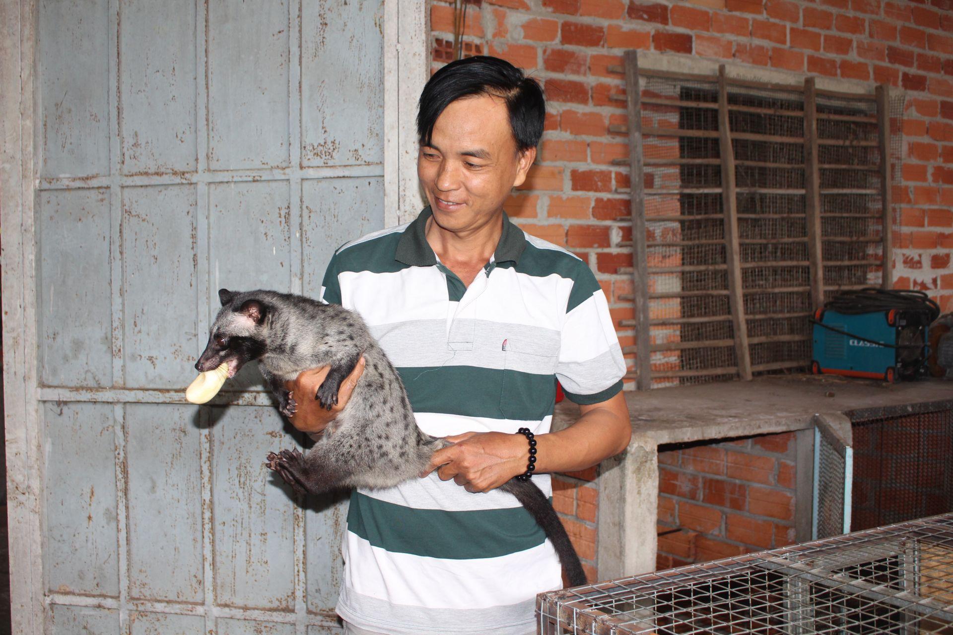 Nuôi loài thú trông như mèo mướp, bế trên tay mà miệng vẫn cố ngậm trái chuối, một nông dân tỉnh Tây Ninh khá giả - Ảnh 1.