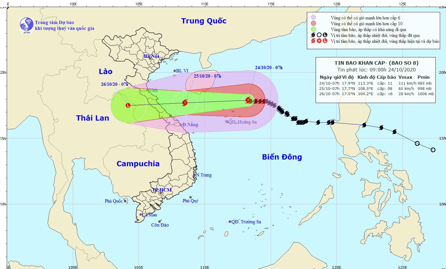 Ảnh hưởng bão số 8, đêm nay, 24/10, Nghệ An - Thừa Thiên Huế lại có mưa  - Ảnh 1.