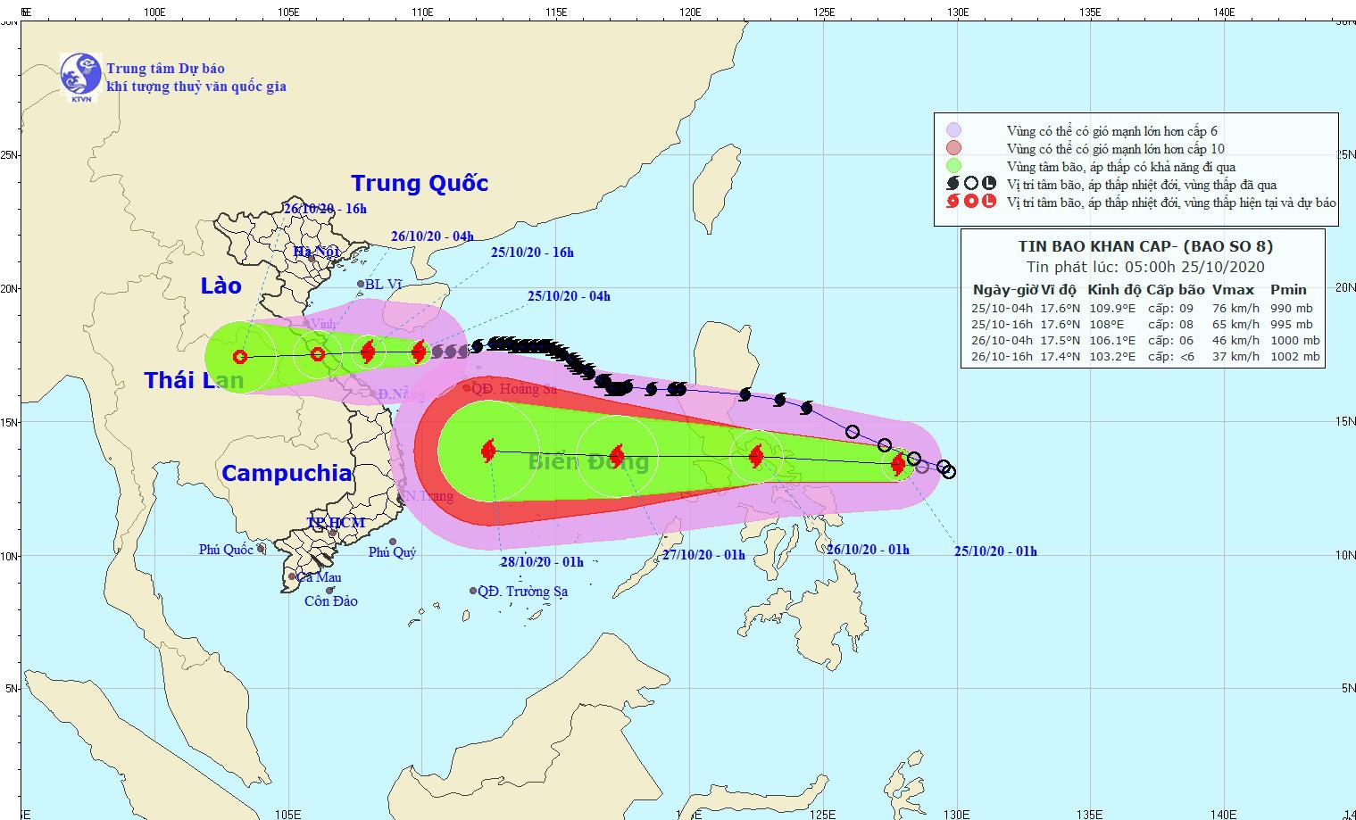 Bão số 8 tiến thẳng Hà Tĩnh - Quảng Trị, lại xuất hiện thêm bão Molave, nguy cơ bão chồng bão