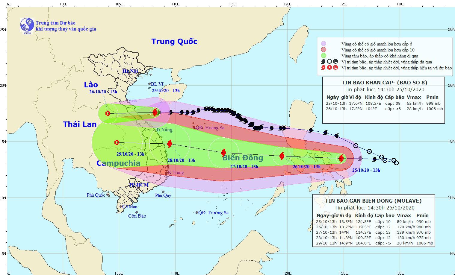 Tin bão mới nhất: Bão số 8 tiến sát Hà Tĩnh - Quảng Trị, bão Molave có thể vào Đà Nẵng - Phú Yên  - Ảnh 1.