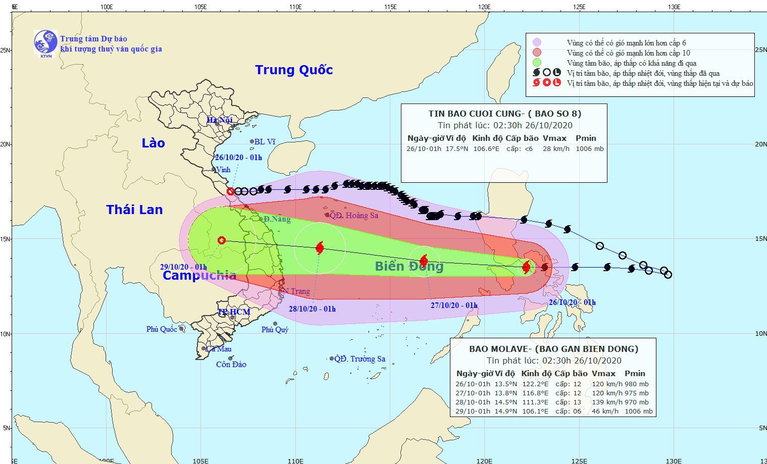Sáng nay, bão Molave vào biển Đông, giật cấp 14 - Ảnh 1.