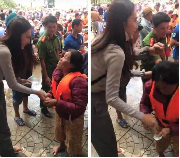 Khoảnh khắc Thủy Tiên vội vàng dúi thêm tiền vào tay người phụ nữ nghèo khiến dân tình xúc động - Ảnh 1.