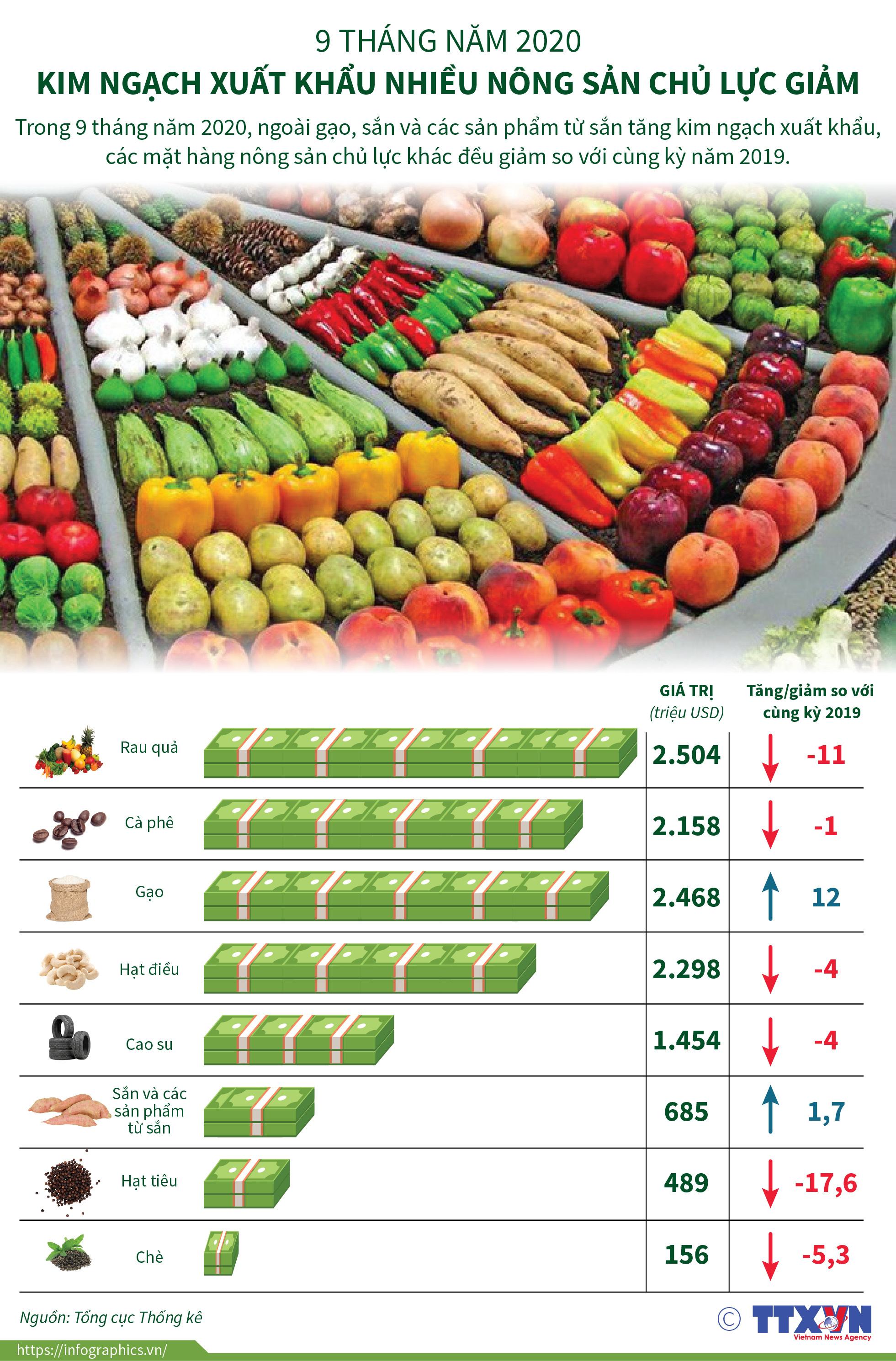 Kim ngạch xuất khẩu nông sản chủ lực giảm trong 9 tháng năm 2020 - Ảnh 1.