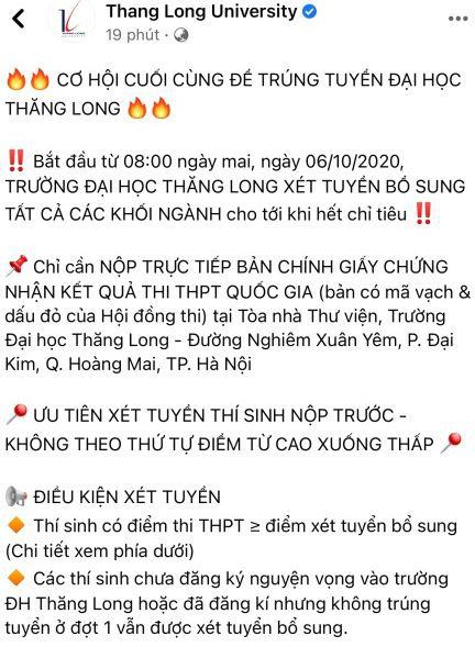 Trường ĐH Thăng Long tuyển sinh bổ sung trái thời gian quy định của Bộ GDĐT - Ảnh 1.