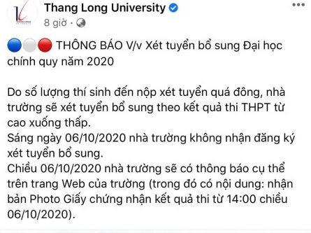 Trường ĐH Thăng Long tuyển sinh bổ sung trái thời gian quy định của Bộ GDĐT - Ảnh 2.