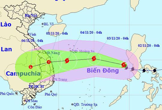 Bão số 10 - Goni giảm 6 cấp, hiện giật cấp 12 hướng về  Đà Nẵng - Phú Yên - Ảnh 1.