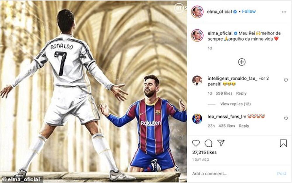 Chị gái Ronaldo gây phẫn nộ với bức ảnh Messi quỳ gối trước CR7 - Ảnh 1.