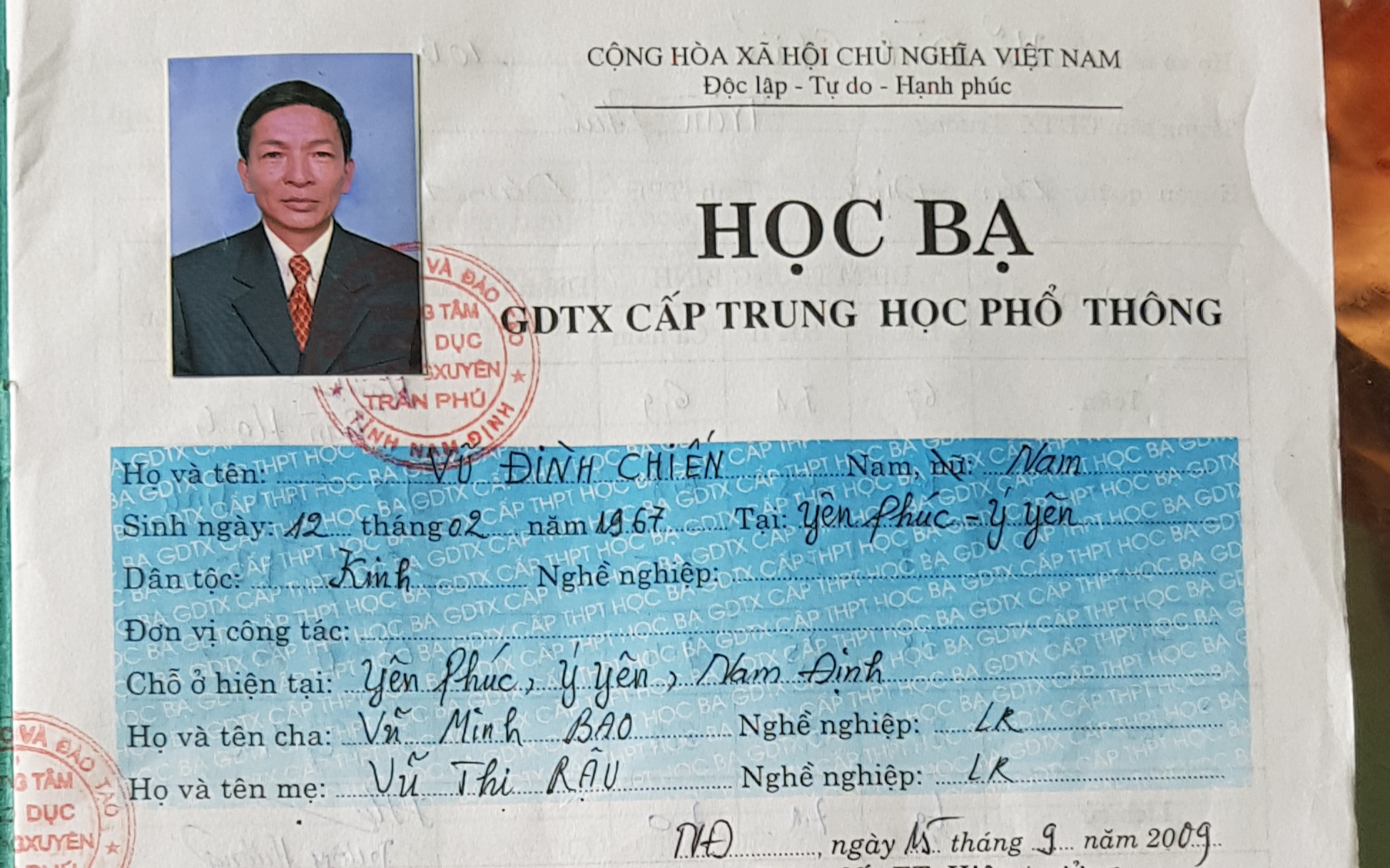 Nam Định: Chủ tịch mặt trận tổ quốc xã Yên Phúc làm giả học bạ tinh vi để thăng tiến