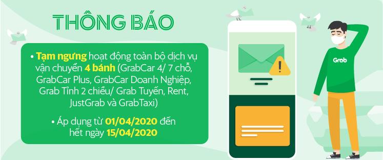 Sau be, Grab cũng dừng toàn bộ dịch vụ gọi xe 4 bánh (GrabCar, GrabTaxi...) từ ngày 1/4/2020 - Ảnh 1.