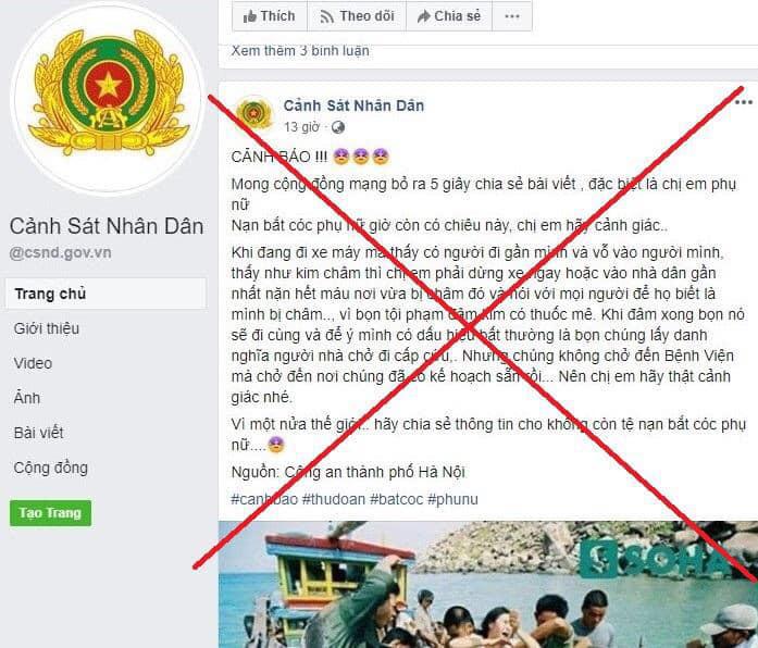 Công an Hà Nội cảnh báo nóng về các trang facebook giả mạo công an - Ảnh 2.