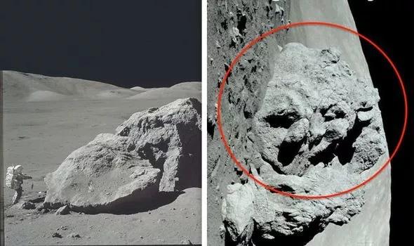 Hình ảnh khuôn mặt người ngoài hành tinh được phát hiện trên Mặt trăng.