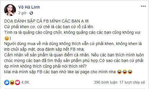 """Chê mỹ phẩm của Hồ Ngọc Hà, Youtuber Hà Linh bị """"ném đá"""", dọa đánh sập Facebook - Ảnh 4."""