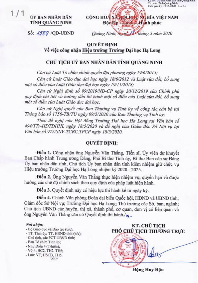 Chủ tịch tỉnh Quảng Ninh kiêm nhiệm Hiệu trường trường Đại học Hạ Long - Ảnh 1.