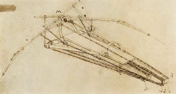 Leonardo da Vinci vẽ phác thảo cỗ máy biết bay dựa theo kiến thức giải phẫu học của loài chim và dơi.   (Ảnh: Wikimedia Commons).