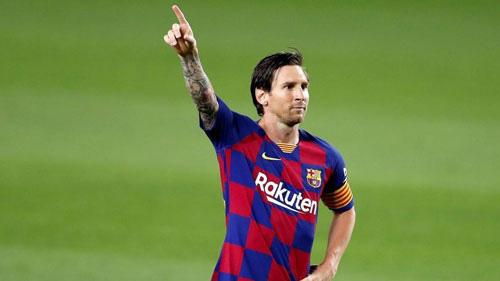 Messi ăn mừng bàn thắng.