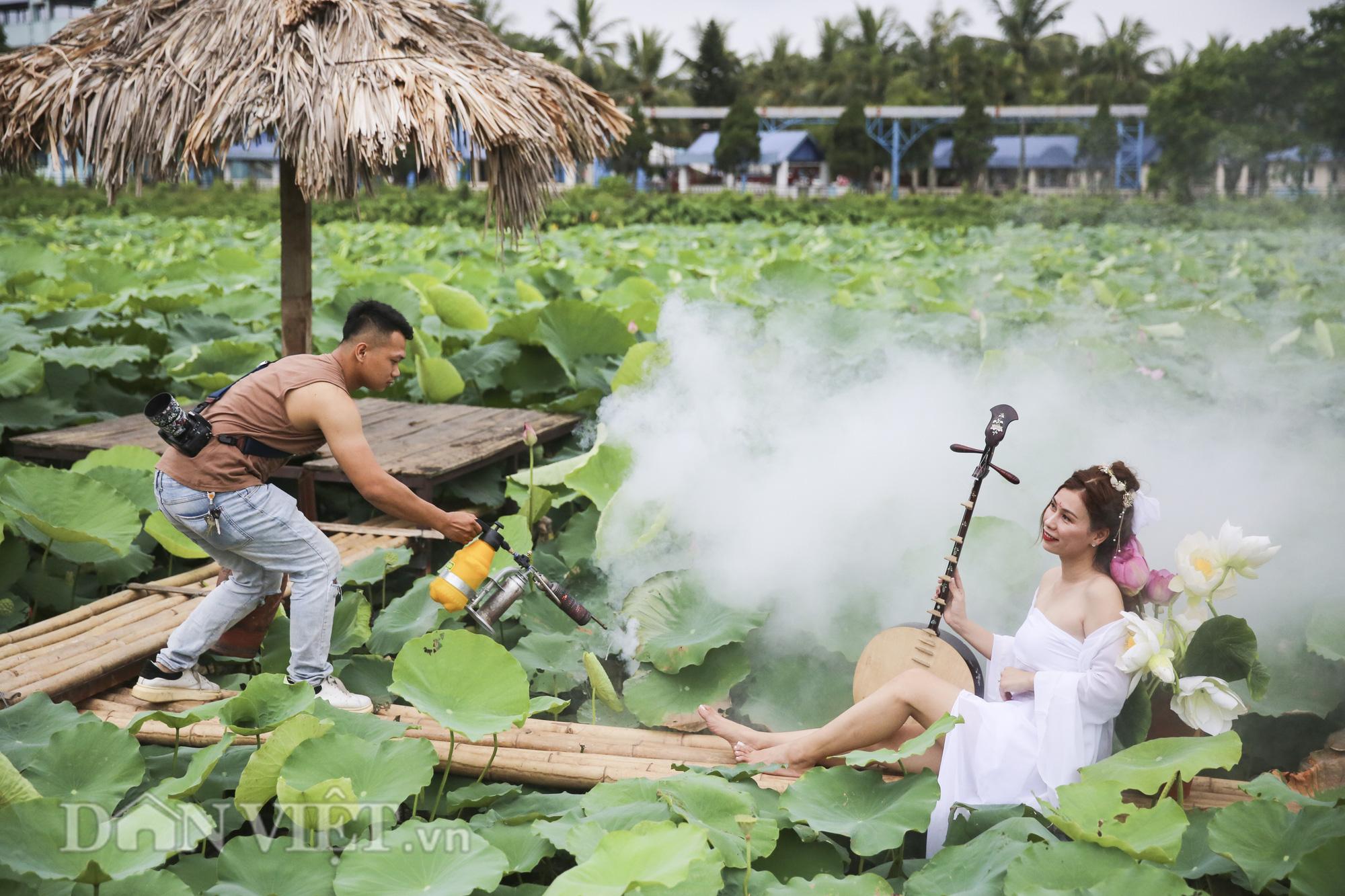 """Sen Hồ Tây bung nở, người dân Hà Thành đổ xô tới """"khoe sắc"""" - Ảnh 10."""