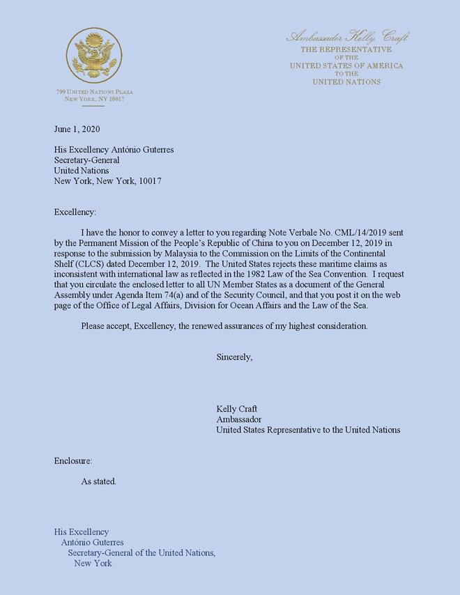 Mỹ gửi công hàm lên LHQ phản đối Trung Quốc về Biển Đông - Ảnh 1.