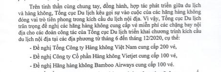 Các hãng hàng không có được từ chối cấp 400 vé máy bay cho Tổng cục Du lịch? - Ảnh 1.