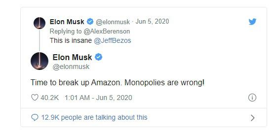 Elon Musk tag hẳn Jeff Bezos vào dòng tweet: Giải tán Amazon đi - Ảnh 1.